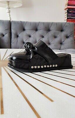 Jeffrey Campbell patent leather knot detail black platform sandals mules UK 3