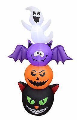 Halloween Cat Inflatables Yards (Halloween Air Blown Inflatable Yard Decoration Totem Pole Cat Pumpkin Bat)