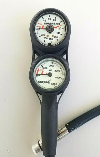 NEW Sopras 2 Gauge Console with Depth and Pressure Gauge for Scuba Diving