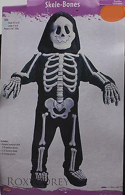 Halloween Skele-Bones Costume Black with White Skeleton Bones Size Small 3T-4T