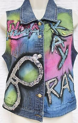 Denim Vest Sz Lg Custom Neon Airbrush 1990s Silver Glitter Sunglasses Ray Music