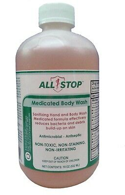 Scabies Eczema Acne Fungus Psoriasis Medicated Hand   Body Wash By Allstop 18 Oz