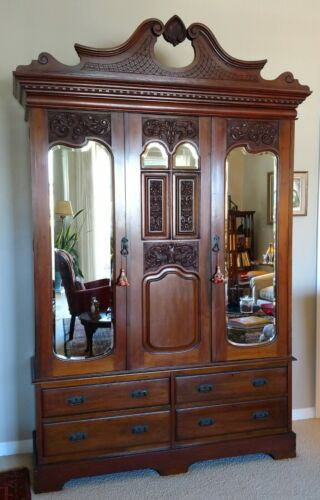 LATE 19thC FRENCH MAHOGANY WARDROBE/ARMOIRE w/INLAY, CARVINGS, BEVELLED MIRRORS