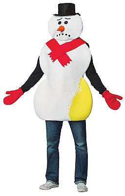 Gelb Schneemann Frosty Erwachsener Lustig Kostüm Rot Fäustlinge Halloween ()
