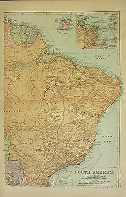 1912 LARGE ANTIQUE MAP ~ SOUTH AMERICA NORTH-EAST BRAZIL TINIDAD RIO DE JANEIRO