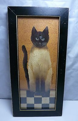 COUNTRY CAT BY CINDY SAMPSON SIAMESE CAT FRAMED PRINT - SIGNED - 1990's
