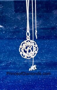 Sterling silver initial letter B pendant & sterling silver chain