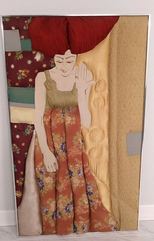Vintage Mid Century Framed Ron Fritts Silk Fabric Woman Painting 3D Quilted Art