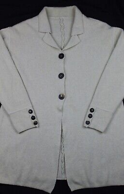 Iris Von Arnim Cream Ivory Cashmere Blend Knit Long Cardigan Sweater Jacket L XL