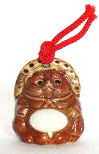 "Japanese Pottery Bell Raccoon Dog Tanuki Lucky Charm Brown H5.8cm 2.28"" Vintage"