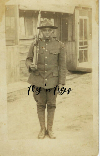 WWI US COLORED INFANTRY African American EDGAR HOWARD ~ CAMP PIKE ARKANSAS RPPC