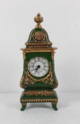 Decorative Cast Metal Shelf Clock Quartz Hand Painted Faux Victorian