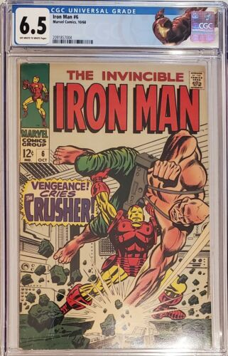Iron Man # 6 CGC 6.5 Custom Universal Iron Man Label 1968 Crusher Appearance