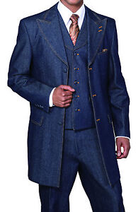 NWT Men's 100% Cotton Denim 3 Piece Suit with Double Contrast Stitching 5285V