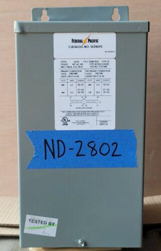 NEW federal 3kva Transformer 1 Single Phase 480v/240v-120v/240v Delta