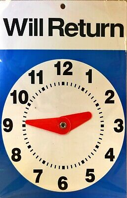 Advantus Will Returncome Inopen Sign With Clock Color Blue