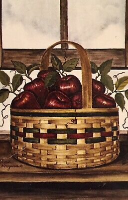 APPLE BASKET PRIMITIVE AUTUMN FALL HARVEST THANKSGIVING LARGE YARD FLAG NEW
