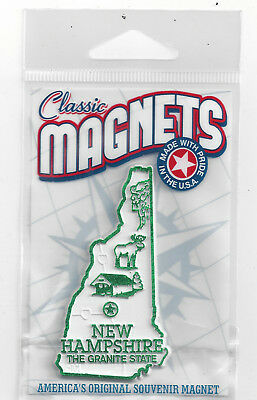 "NEW HAMPSHIRE"" THE GRANITE STATE""   NH  OUTLINE MAP MAGNET in Souvenir Bag, NEW"