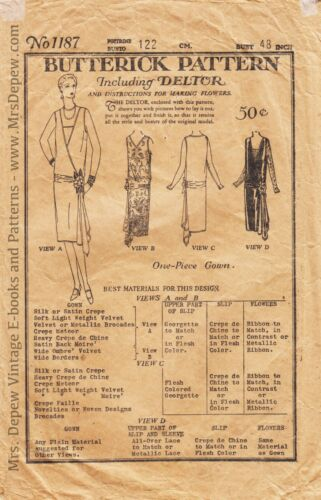 "Vintage Sewing Pattern Butterick 1187 1920s Day & Evening Dress Pattern 48"" Bust"