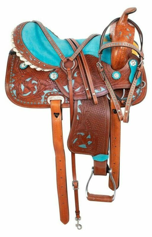 Western Premium Leather Barrel Racing Trail Horse Saddle Tack Size 11 Inches
