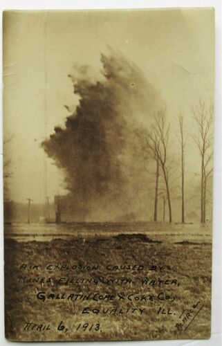 RPPC Real Photo Postcard Explosion Gallatin Coal Mine Equality IL Unposted 1913