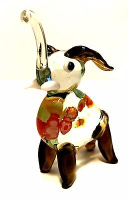 (Handcrafted Miniature Elephant Millefiori Blown Glass Figurine 3 inches Tall)
