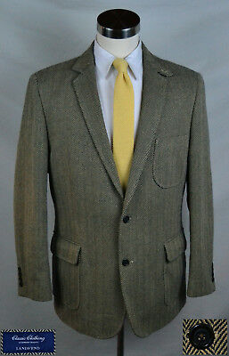 1b5143cf47a Great Black   Tan Herringbone Sport Coat wth Patch Pkts (Size 42R) By Lands