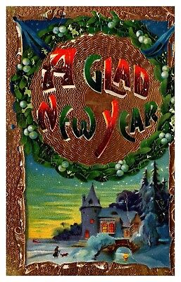 Vintage Embossed New Year Postcard Snow Person & Dog House WIth Tower