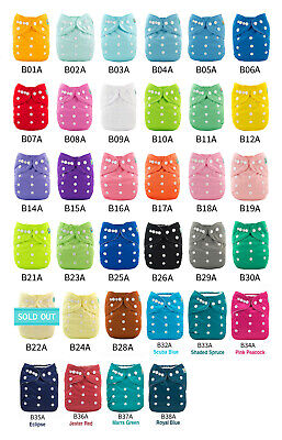 ALVABABY Reusable Washable Cloth Diapers One Size Best Pocket Nappies +