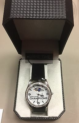 Baltimore Ravens Super Bowl Xlvii Champions Game Time Women Crystal Glitz Watch