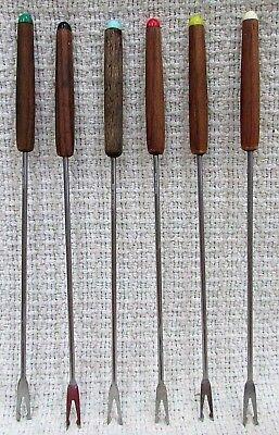 Six 1980's Vintage Mediterranean Solid Wood Handle Steel Fondue Forks FREE S/H