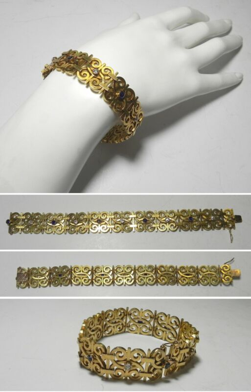 C1115 Antique 18K Solid Yellow Gold Wide Diamond and Sapphire Bracelet