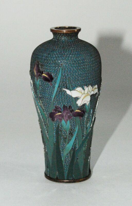 Extremely Rare Raised Foreground Japanese Cloisonne Vase by Hayashi Hachizaemon