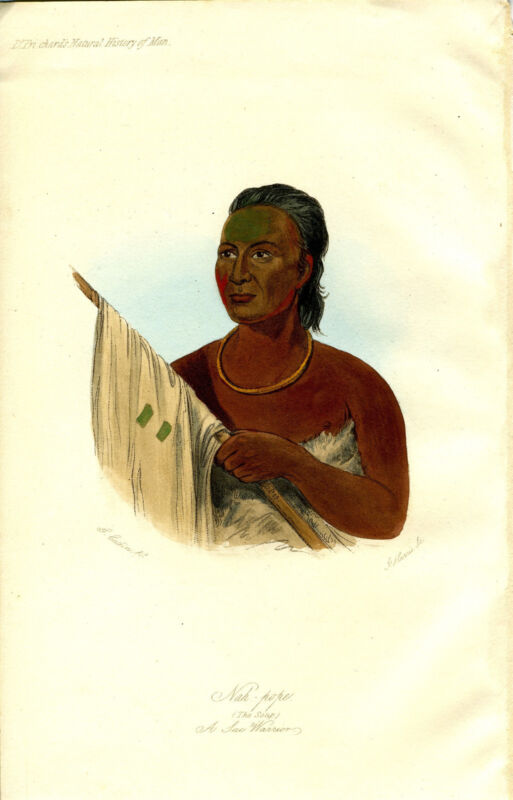 "1845 Genuine Antique Hand Colored Portrait ""Nah Pope... A Sac Warrior"". Prichard"