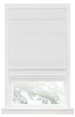 Blackout Cordless Retractable Solid White Window Roman Shade