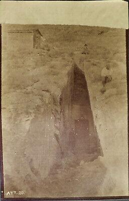 Attica, Sparta,Greek Vintage albumen photograph tomb entrance, c. 1880