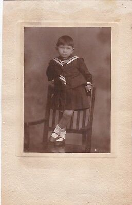 1930s BIG Pretty little girl in sailor costume on chair old Russian Soviet photo](Little Girl Sailor Costume)