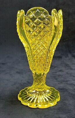 English Victorian Vaseline Glass Diamond Panel Footed Vase Derbyshire Brothers?