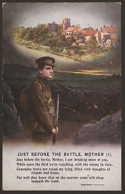 """""""Just Before The Battle, Mother""""  3 Part WW1 Bamforth Song Card Set. Series 4902"""