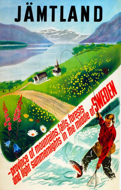 Jämtland Sweden Swedish Scandinavia Vintage Travel Poster Art Advertisement