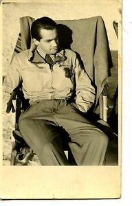 Young-Man-Chair-on-Beach-Jacket-Insignia-Patch-RPPC-Real-Photo-Vintage-Postcard