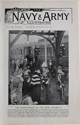 1901 PRINT HOME COMING PORTSMOUTH KING & QUEEN WITH DUKE & DUCHESS CORNWALL