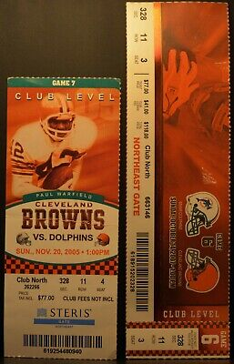 LOT 2 Ticket Stub 2005 & 2007 CLEVELAND BROWNS VS. MIAMI DOLPHINS Club Level
