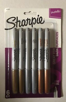 Sharpie Metallic Fine Point Tip Permanent Marker 6 Pack Assorted Colors New