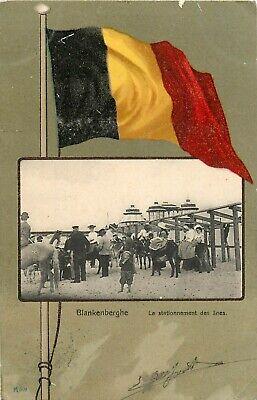 Mooie oude postkaart van Blankenberge, de ezel staanplaats op het strand. (3152)