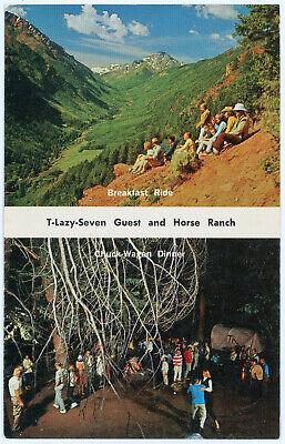 Vintage 1963 Advertising Postcard T-Lazy 7 Dude Ranch Horse Breeding Aspen CO