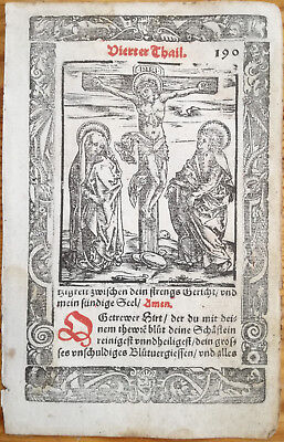 Breviary Hortulus Animae Woodcut Crucification - 1550