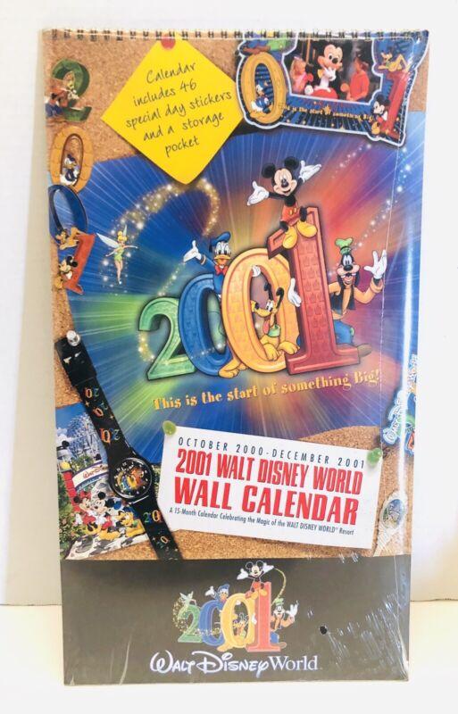"2001 Walt Disney World 15 Month 18""X10"" Wall Calendar W/ Stickers Sealed!"