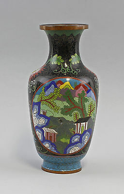 8339039 Cloisonné Vase Landscapes Asian Copper Baluster Vase