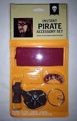 Instant Pirate Costume Accessory Kit Eye Patch Earring Bandana Denture &Adhesive